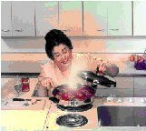 Image of woman cooking placenta from placenta recipe